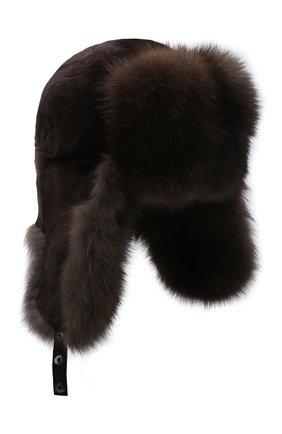 Мужская шапка-ушанка из меха норки и соболя KUSSENKOVV коричневого цвета, арт. 330213504158 | Фото 1