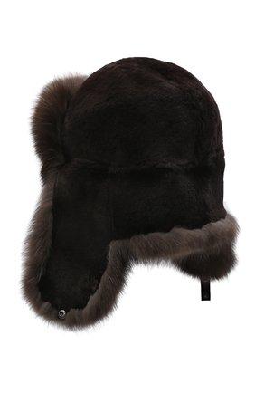 Мужская шапка-ушанка из меха норки и соболя KUSSENKOVV коричневого цвета, арт. 330213504158 | Фото 2
