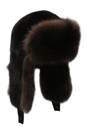 Мужская шапка-ушанка из меха норки и соболя KUSSENKOVV коричневого цвета, арт. 332803504235 | Фото 1