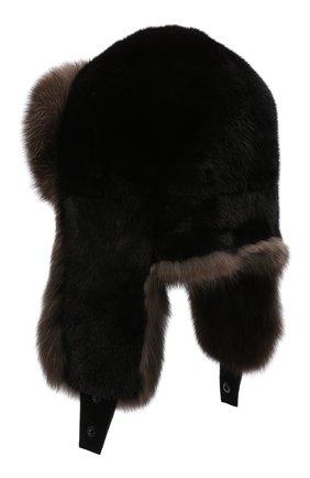 Мужская шапка-ушанка из меха норки и соболя KUSSENKOVV коричневого цвета, арт. 332803504235 | Фото 2