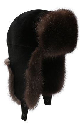 Мужская шапка-ушанка из меха норки и соболя KUSSENKOVV коричневого цвета, арт. 331513504235 | Фото 1