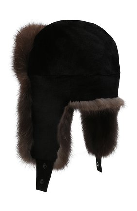Мужская шапка-ушанка из меха норки и соболя KUSSENKOVV коричневого цвета, арт. 331513504235 | Фото 2