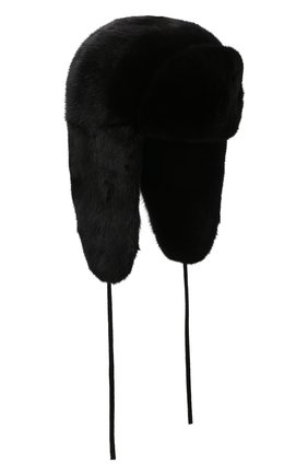 Мужская шапка-ушанка из меха норки KUSSENKOVV черного цвета, арт. 322800002241 | Фото 1