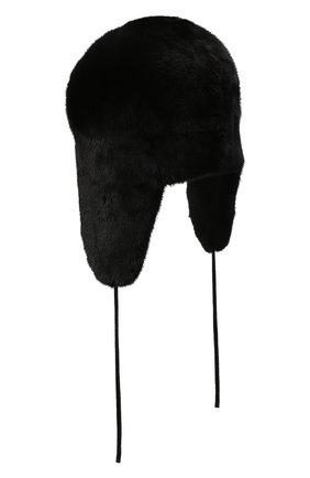 Мужская шапка-ушанка из меха норки KUSSENKOVV черного цвета, арт. 322800002241 | Фото 2