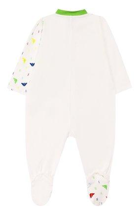 Детский хлопковый комбинезон EMPORIO ARMANI белого цвета, арт. 3HHD18/4JCJZ | Фото 2