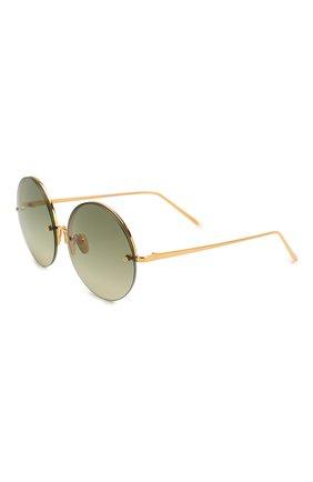 Женские солнцезащитные очки LINDA FARROW золотого цвета, арт. LFL565C8 SUN   Фото 1