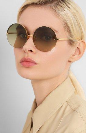 Женские солнцезащитные очки LINDA FARROW золотого цвета, арт. LFL565C8 SUN   Фото 2