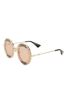 Женские солнцезащитные очки GUCCI бежевого цвета, арт. GG0113 009   Фото 1