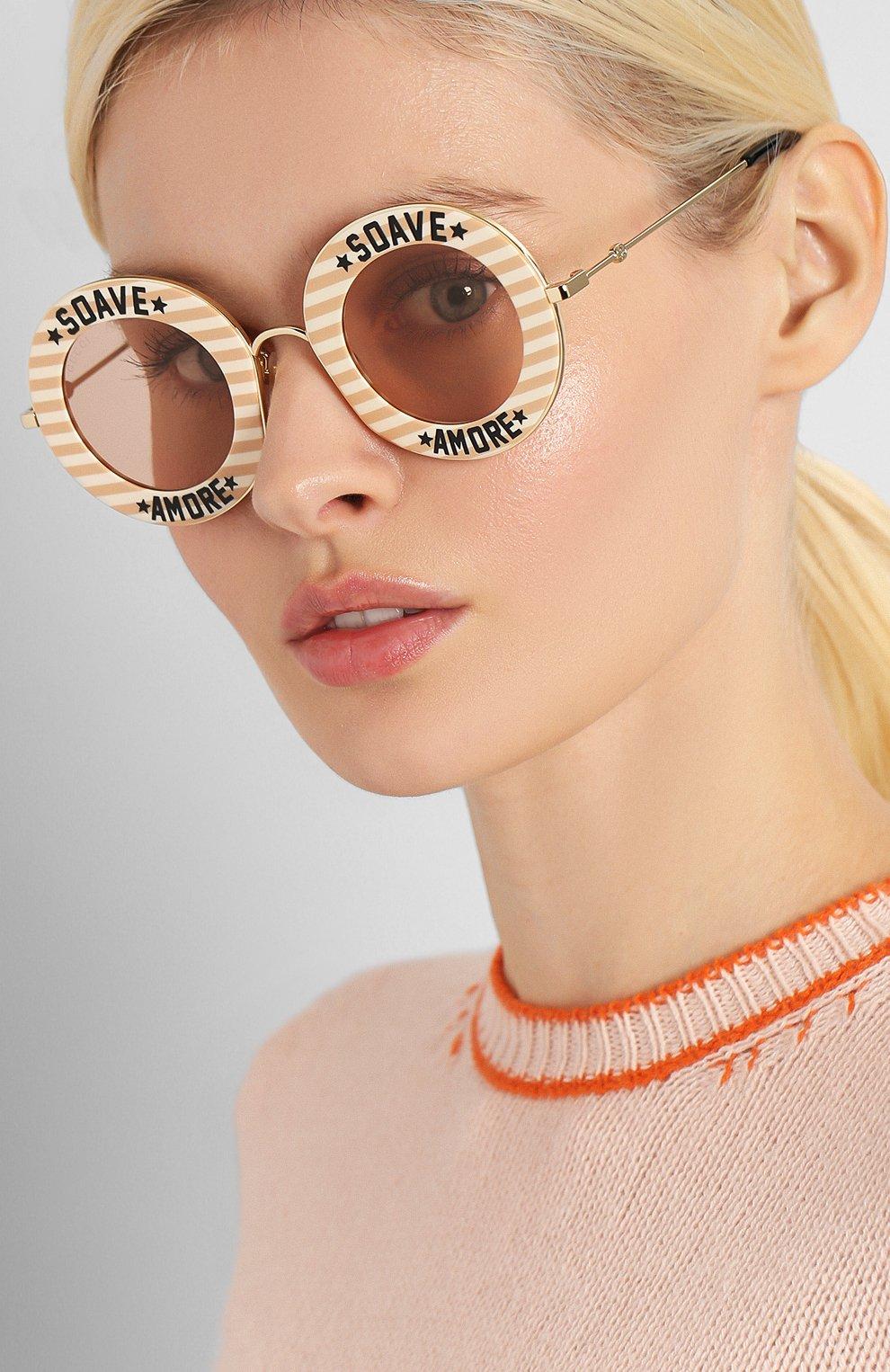 Женские солнцезащитные очки GUCCI бежевого цвета, арт. GG0113 009   Фото 2