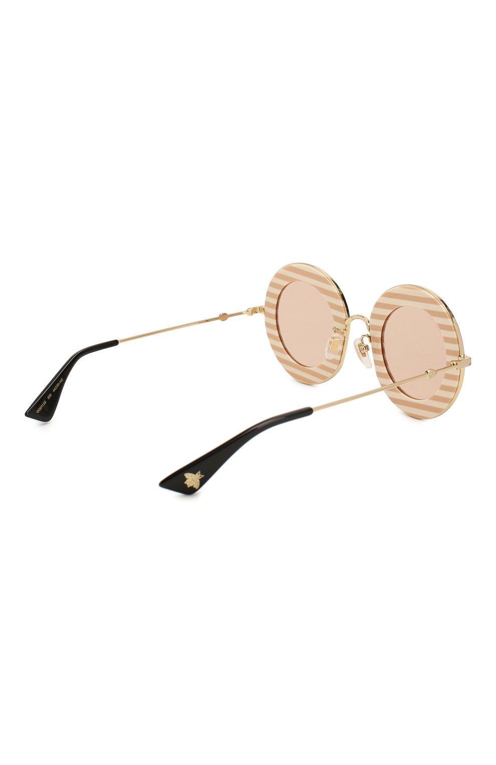 Женские солнцезащитные очки GUCCI бежевого цвета, арт. GG0113 009   Фото 4