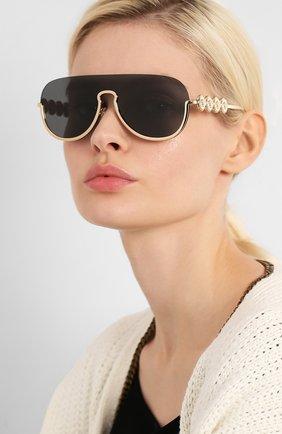 Женские солнцезащитные очки VERSACE золотого цвета, арт. 2215-100287   Фото 2