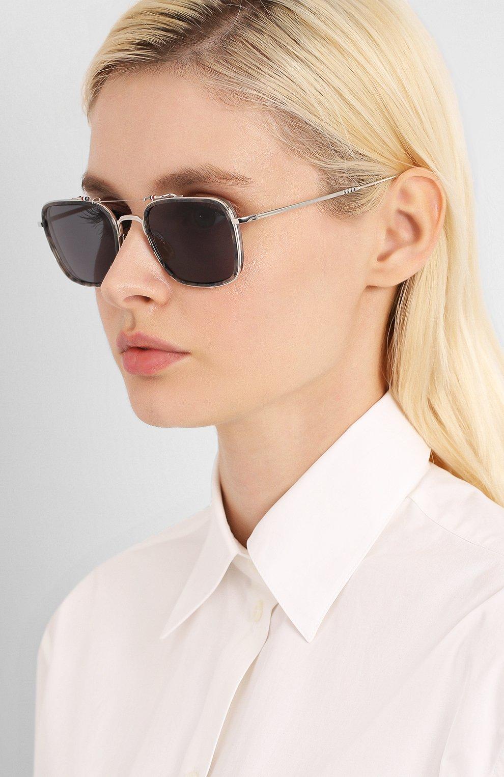 Женские солнцезащитные очки THOM BROWNE серебряного цвета, арт. TB-816-03 | Фото 2