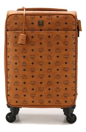 Женский кожаный дорожный чемодан на колесиках MCM коричневого цвета, арт. MUV 8SVY04 | Фото 1