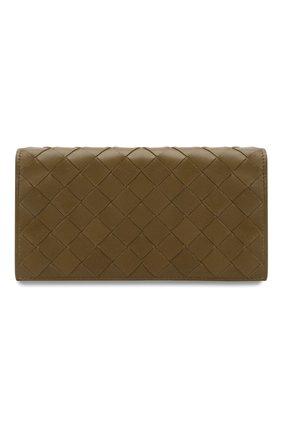 Женские кожаный кошелек BOTTEGA VENETA хаки цвета, арт. 600873/VCPP3 | Фото 1