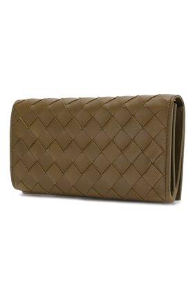 Женские кожаный кошелек BOTTEGA VENETA хаки цвета, арт. 600873/VCPP3 | Фото 2