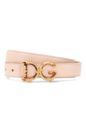 Женский кожаный ремень DOLCE & GABBANA светло-розового цвета, арт. BE1348/AX095 | Фото 1