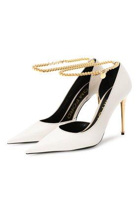 Женские кожаные туфли TOM FORD белого цвета, арт. W2613T-LKD002 | Фото 1 (Материал внутренний: Натуральная кожа; Подошва: Плоская; Каблук высота: Высокий; Каблук тип: Шпилька)