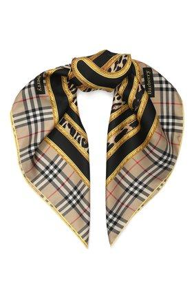 Женский шелковый платок BURBERRY бежевого цвета, арт. 8025568 | Фото 1