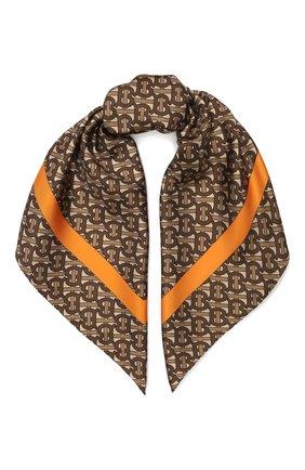 Женский шелковый платок BURBERRY коричневого цвета, арт. 8025560 | Фото 1