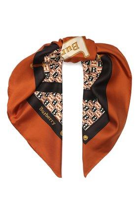 Женский шелковый платок BURBERRY коричневого цвета, арт. 8024548 | Фото 1