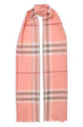 Мужские шарф из смеси шерсти и шелка BURBERRY розового цвета, арт. 8024521 | Фото 1