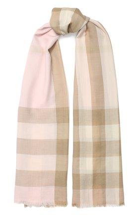 Мужские кашемировый шарф BURBERRY розового цвета, арт. 8024501 | Фото 1