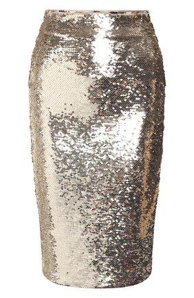 Женская юбка с пайетками EMPORIO ARMANI золотого цвета, арт. 3H2NA1/2NWLZ | Фото 1 (Материал подклада: Синтетический материал; Длина Ж (юбки, платья, шорты): До колена; Материал внешний: Синтетический материал; Статус проверки: Проверена категория)
