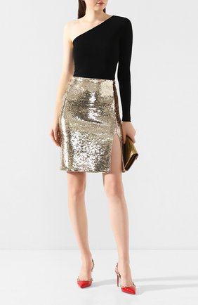 Женская юбка с пайетками EMPORIO ARMANI золотого цвета, арт. 3H2NA1/2NWLZ | Фото 2 (Материал подклада: Синтетический материал; Длина Ж (юбки, платья, шорты): До колена; Материал внешний: Синтетический материал; Статус проверки: Проверена категория)