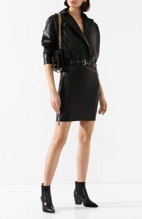Женская кожаная юбка JITROIS черного цвета, арт. JUPE HEAVEN AGNEAU STRETCH | Фото 2