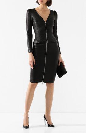 Женская кожаная юбка JITROIS черного цвета, арт. JUPE DEE AGNEAU STRETCH | Фото 2