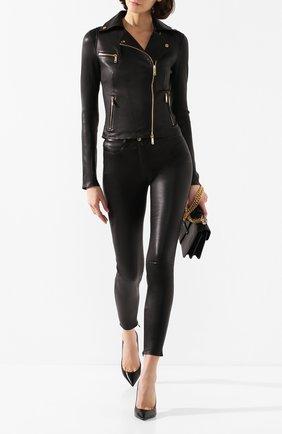 Женская кожаная куртка JITROIS черного цвета, арт. BL0US0N RIDER 4 FEMME AGNEAU STRETCH | Фото 2