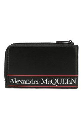 Мужской кожаный футляр для кредитных карт ALEXANDER MCQUEEN черного цвета, арт. 600390/1SJ2B | Фото 1