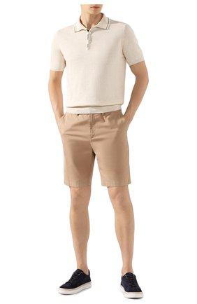 Мужское поло из смеси льна и хлопка FIORONI белого цвета, арт. MK20701C1 | Фото 2