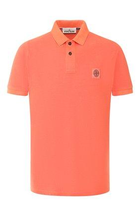 Мужское хлопковое поло STONE ISLAND оранжевого цвета, арт. 721522S67 | Фото 1
