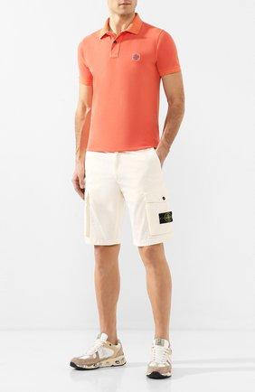 Мужское хлопковое поло STONE ISLAND оранжевого цвета, арт. 721522S67 | Фото 2