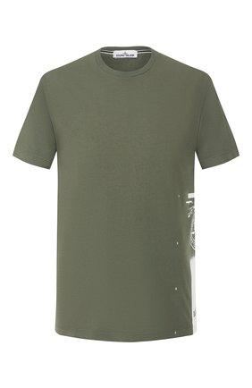 Мужская хлопковая футболка STONE ISLAND хаки цвета, арт. 72152NS83 | Фото 1