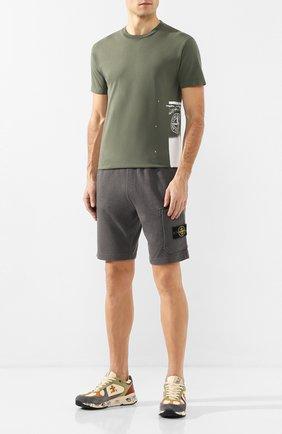 Мужская хлопковая футболка STONE ISLAND хаки цвета, арт. 72152NS83 | Фото 2