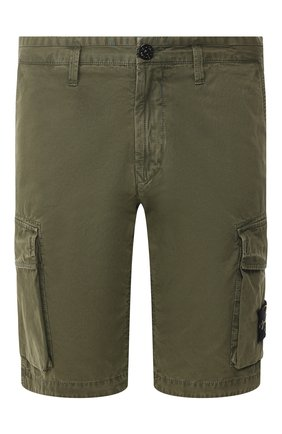Мужские хлопковые шорты STONE ISLAND хаки цвета, арт. 7215L07WA | Фото 1