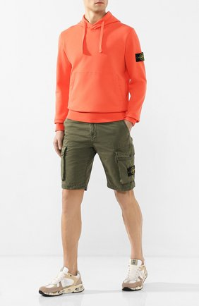 Мужские хлопковые шорты STONE ISLAND хаки цвета, арт. 7215L07WA | Фото 2