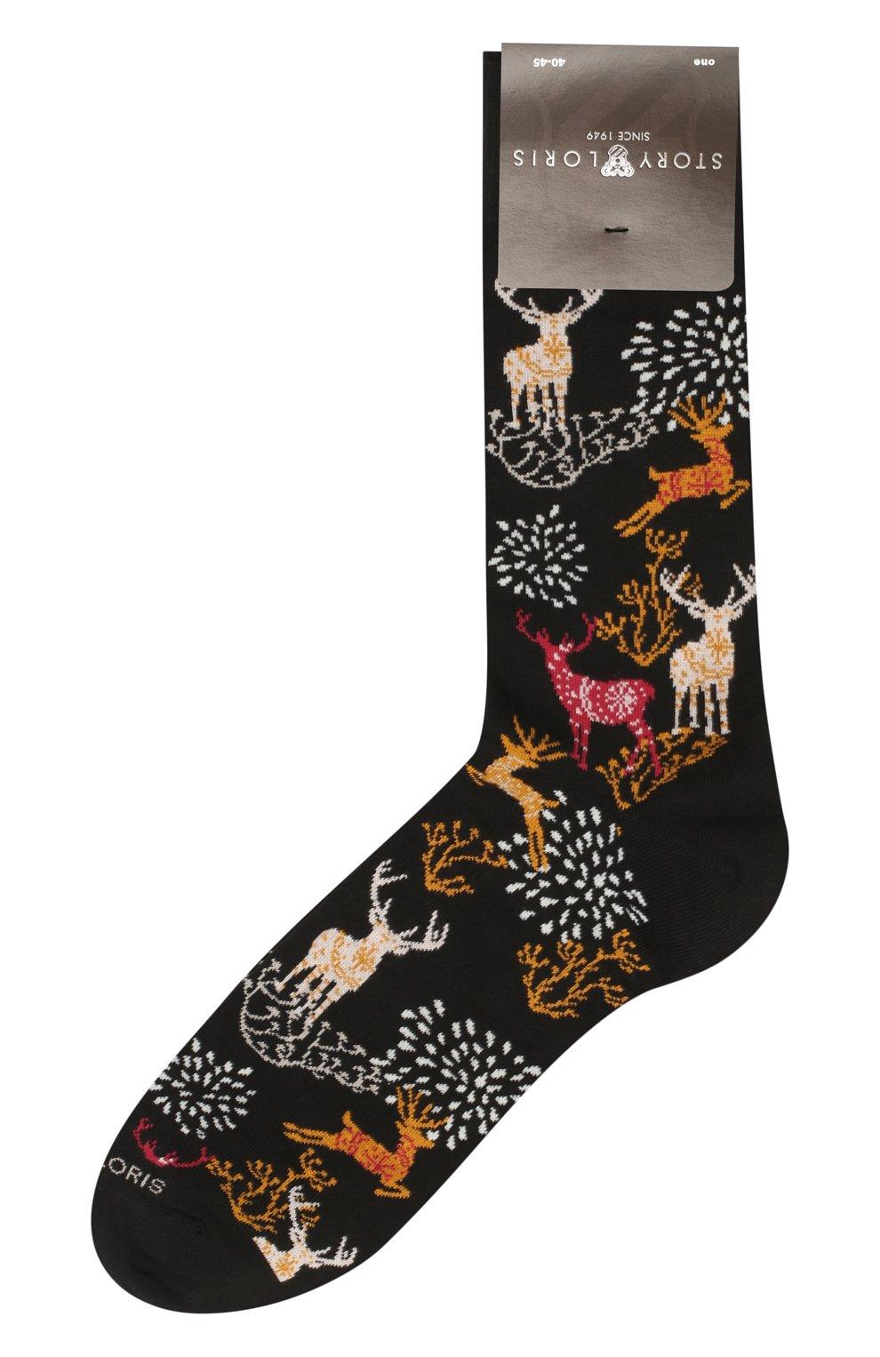 Мужские хлопковые носки STORY LORIS черного цвета, арт. 219 | Фото 1