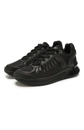 Мужские комбинированные кроссовки BALMAIN черного цвета, арт. TM1C212/LMNR | Фото 1