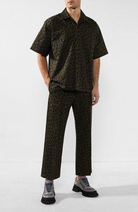 Мужской брюки из смеси хлопка и льна MARNI хаки цвета, арт. PUMU0077A0/S52590   Фото 2