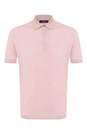 Мужское поло из смеси хлопка и шелка ERMENEGILDO ZEGNA розового цвета, арт. UU514/751   Фото 1