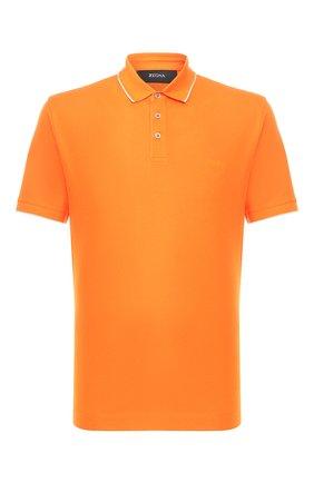 Мужское хлопковое поло Z ZEGNA оранжевого цвета, арт. VU360/ZZ661 | Фото 1