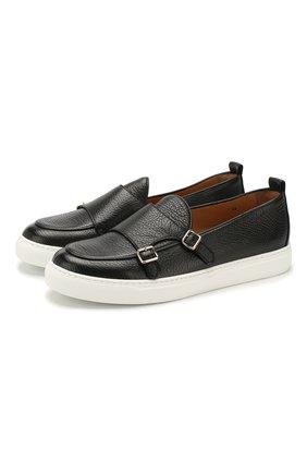 Мужские кожаные слипоны H`D`S`N BARACCO черного цвета, арт. TIFF.6*   Фото 1 (Материал внутренний: Натуральная кожа; Стили: Кэжуэл)