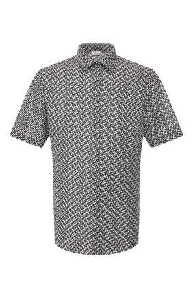 Мужская рубашка из смеси хлопка и льна BRIONI черно-белого цвета, арт. SCDH0L/P9052 | Фото 1