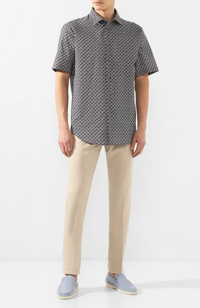 Мужская рубашка из смеси хлопка и льна BRIONI черно-белого цвета, арт. SCDH0L/P9052 | Фото 2
