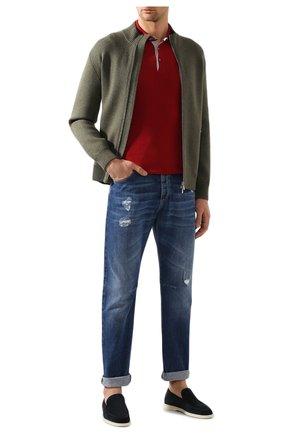 Мужское поло из смеси льна и хлопка BRUNELLO CUCINELLI красного цвета, арт. M2L00295 | Фото 2 (Рукава: Короткие; Материал внешний: Лен; Длина (для топов): Стандартные; Застежка: Пуговицы)