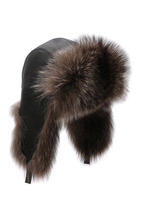 Мужская кожаная шапка-ушанка с отделкой из меха енота KUSSENKOVV черного цвета, арт. 338508049159 | Фото 1