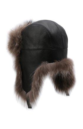 Мужская кожаная шапка-ушанка с отделкой из меха енота KUSSENKOVV черного цвета, арт. 338508049159 | Фото 2